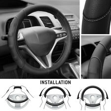 Synthetic Leather Steering Wheel Cover Black w/ Gray Stitching Sport Grip