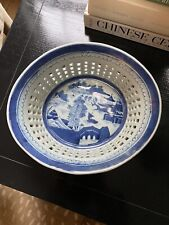 New listing Large Antique Chinese Export Blue & White Reticulated Canton Chestnut Basket