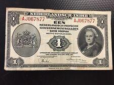 Bank Note 1943 Nederlandsh Indi 1 Dutch East Indies