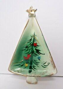 Vintage 50's Ceramic Christmas Tree Gilt Edge Jewelry Candy Nut Trinket Dish