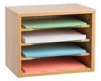 Adiroffice Wood Desk Workspace Organizer, files, papers, Medium Oak