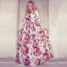 donne boho maxi sera partito abito da ballo manica lunga floreale lungo vestito