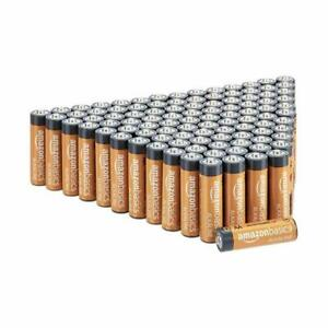 Amazon Basics 100 Pack AA High-Performance Alkaline Batteries, 10-Year Shelf ...