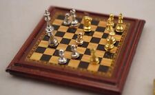 Chess Set - 1-12 scale dollhouse miniature G7247 - metal pieces - game