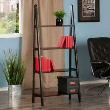 Small 4 Tier Bookcase Open Ladder Shelves Wood Furniture Book Shelf Display Home