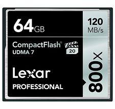 Lexar 64GB CompactFlash Professional 800x UDMA 7 CF Pro VPG-20 Memory Card - New
