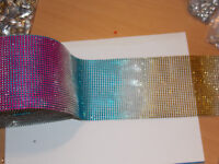 10cm 1m RAINBOW Diamonte Crystal Effect Rhinestone Cake Decoration Ribbon Mesh