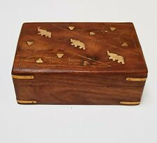 Hand Made Shesham Wooden Boxes Brass Copper Inlay Elephant Free Post