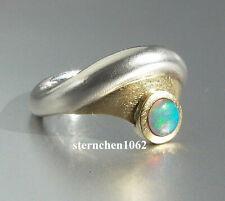 Einzelstück * Ring * 925 Silber * 18 ct Gold * Opal