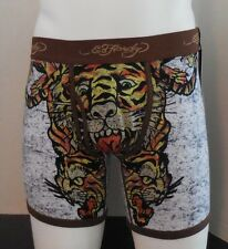 Ed Hardy Men's Tiger Collage Boxer Briefs Brown Size S New