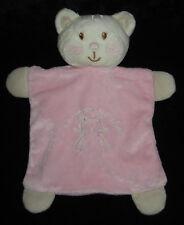Doudou plat Coucou petit Chat rose et écru Vétir 23 cm