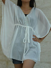 3025 Boho Chiffon Caftan Kaftan White Casual Tunic Batwing Kimono Top S M L XL