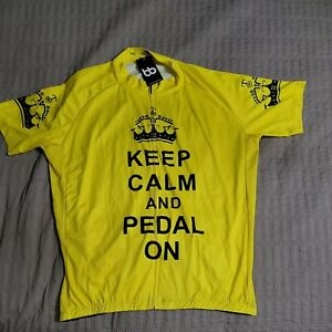 Keep Calm and Pedal On Cycling Jersey Mens 3XL Bicycle Booth NEW NWT Yellow