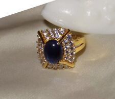 HSN Victoria Wieck 925 Sterling Silver Gold Plated Blue Sapphire Cabochon Ring 6