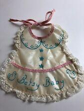 Vintage Betsy Baby Doll Bib Cute Vinyl Pink Gingham Blue Pocket