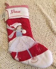 "Pottery Barn Kids Quilted Stk Iceskater Christmas Stocking ""Grace"" New"