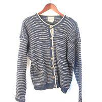 Woolrich Wool Cardigan Sweater Button Front Birdseye Blue Tan Women M Medium