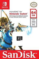 Carte micro SD XC SanDisk 64 Go pour Nintendo Switch Officiel Neuf