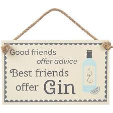 New Good Friends Buy Gin Rustic Fun Wooden Door Home Hanging Sign