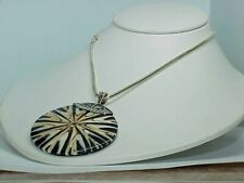 """QVC MERAV Sterling PENDANT Necklace Laminated Marble Wood Disc 2"""" Starburst New"""