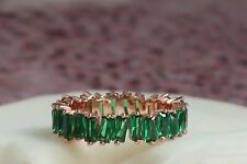 925 Sterling Silver Ring,wedding Full Eternity Baguette ring,4mm Emerald band..