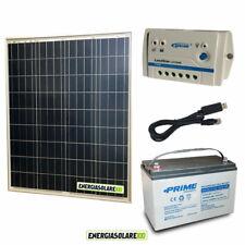 Kit placa solar panel fotovoltaico 80W 12V Batería 100Ah AGM regulador 10A cable