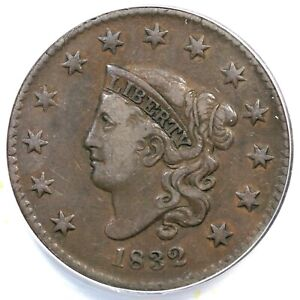 """1832 N-3 R-2 ANACS VF 30 """"Large Letters"""" Coronet Head Large Cent Coin 1c"""