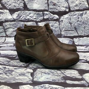 Clarks Bendables Women Brown Leather Block Heel Ankle Boots Booties Size 7.5 M