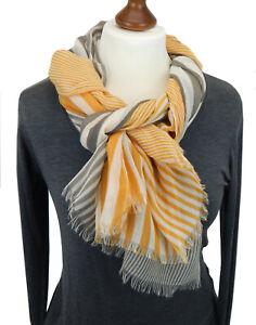 Ella Jonte breiter Schal grau gelb beige Streifen Damenschal unisex Viskose