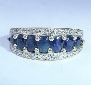 9ct Gold Sapphire & Diamond Half Eternity Boat Ring, Size P