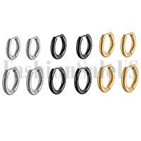 Punk 18/20mm Stainless Steel Men Women Grooved Charm Hoop Huggie Earrings 2PCS