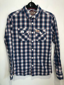Superdry The Washbasket shirt blue check lumberjack Small S VGC classic cotton
