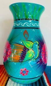 Mexican Ceramic Flower Pot Jar Vase Planter Folk Art Pottery Handmade Talavera
