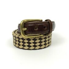 Brighton Belt Size 34 Leather Tab Woven Textile Diamond Pattern Brass Buckle