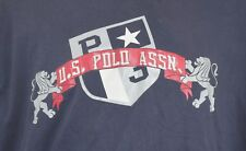 """RARE VINTAGE US POLO ASSN T-SHIRT 45"""" CHEST 2 LIONS EMBROIDERED SPELLOUT"""