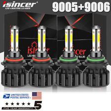 9005 9006 Led Combo Headlight Bulbs Hi/Lo Beam Kits Cree 6000K Super Bright 4pcs