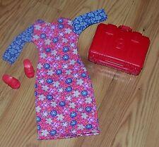 Original Matte Barbie Doll Clothing Floral Dress With Suitcase & Shoes