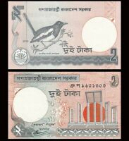 BANGLADESH 2 Taka, 2007, P-6, Magpie Robin/Shadeed Minar, UNC World Currency