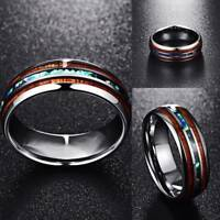 8mm Hawaiian Koa Wood and Abalone Shell Tungsten Carbide Rings for Men Sizes