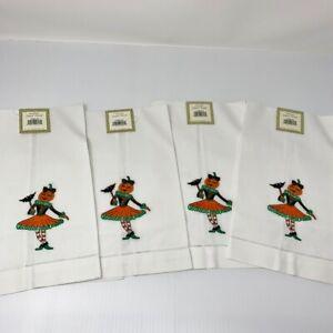 Halloween Guest Towels 4 Napkins Pumpkin Girl NWT Decor Cotton C & F Enterprises
