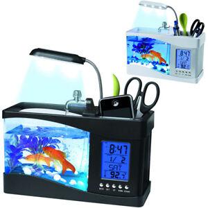 LED Desktop Mini Aquarium Self Cleaning Fish Tank Planter Home Office Decor Gift