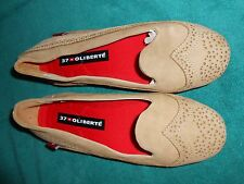 Oliberte tan nubuck Blanca leather flats display/sample 7M New no box save $!