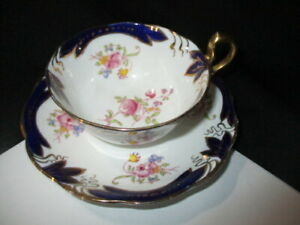 CUP SAUCER ROYAL ALBERT HAND DETAILED PINK CABBAGE ROSES COBALT BLUE & GOLD