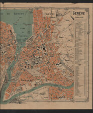Vintage map of Geneva scale:10.500,editor G.Toursier- Lyon/E.Fonne Paris.