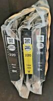 3 EPSON 220 INK CARTRIDGES - 2 BLACK 1 YELLOW - BRAND NEW FACTORY SEALED-NO BOX