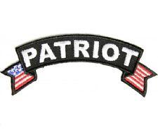 "(C46) PATRIOT U.S. FLAG  4"" x 1.5"" iron on rocker patch (3281)"