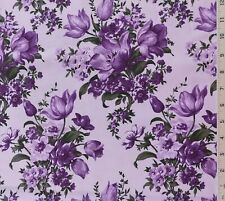 Lavender Lilac Purple Floral Cotton Quilting Fabric Gallery Choice Prints
