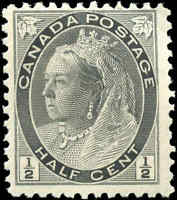 1898 Mint H Canada F Scott #74 1/2c Queen Victoria Numeral Issue Stamp