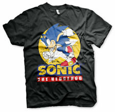 OFFICIAL SEGA SONIC THE HEDGEHOG SPINNING DISTRESSED PRINT BLACK T-SHIRT