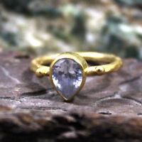 Roman Art Handmade Topaz Ring 925k Sterling Silver Turkish Designer Gemstone
